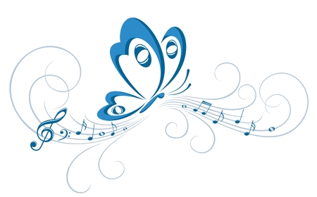 A symbol of the butterfly with music notes.