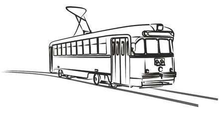 Croquis d'un vieux tramway rétro de la ville.