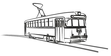 Szkic starego tramwaju miejskiego retro.
