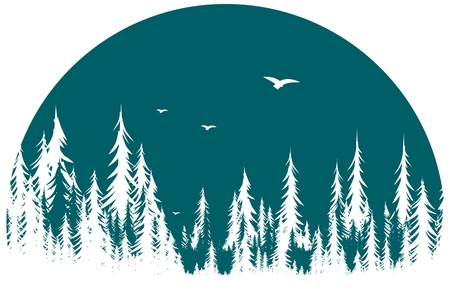A forest symbol with flight of birds.