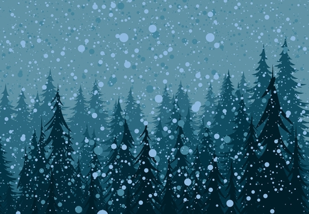 Winter landscape with coniferous forest and snow.