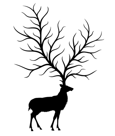 A silhouette of a wild deer with a big tree.