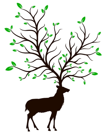 A silhouette of a wild deer with a big green tree.