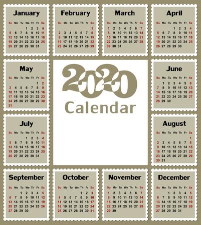 A calendar template for a year 2020.
