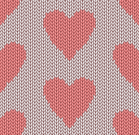 The Seamless pink knitted background with hearts.