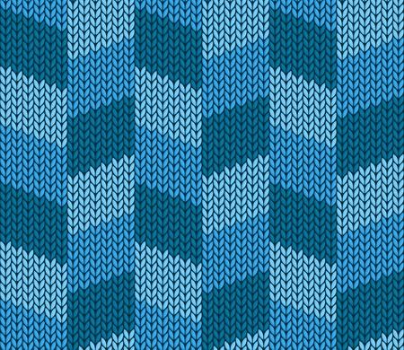 The Seamless blue knitted background. Ilustração