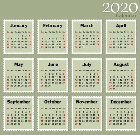 Calendar for 2020. Illustration