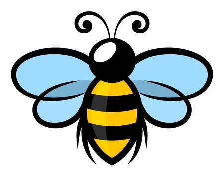 Symbol latającej pszczoły stylizowanej.