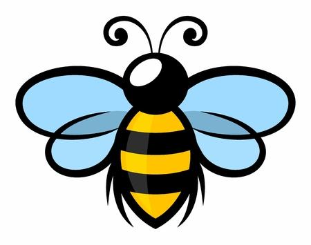 Un símbolo de la abeja estilizada voladora.