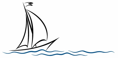A symbol of the blue sailing vessel with a wave.  イラスト・ベクター素材