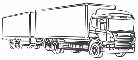 the long truck with the trailer.  イラスト・ベクター素材