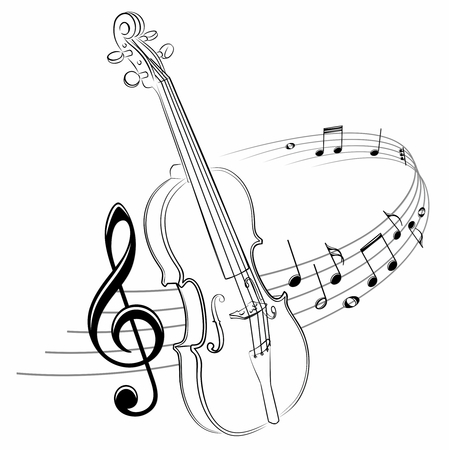 The stylized symbol with music notes and violin.  イラスト・ベクター素材