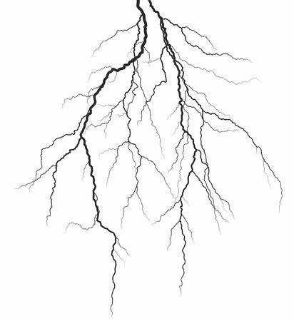 A lightning stroke in the night sky.