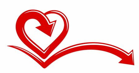 The stylized symbol with red heart. Ilustração