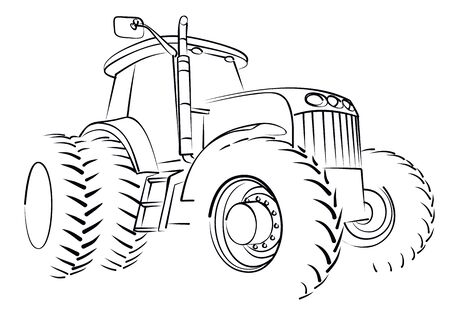 The Sketch of a big heavy tractor.