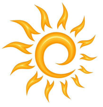 A symbol of the bright summer sun with beams. Ilustração