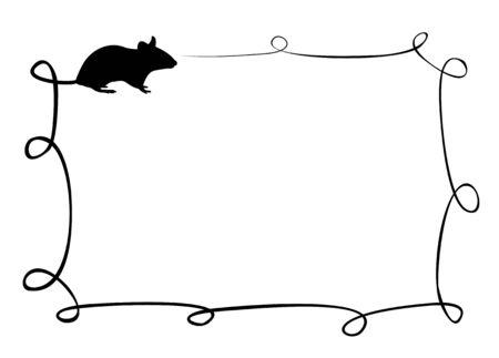 The square frame with the mouse. Ilustração