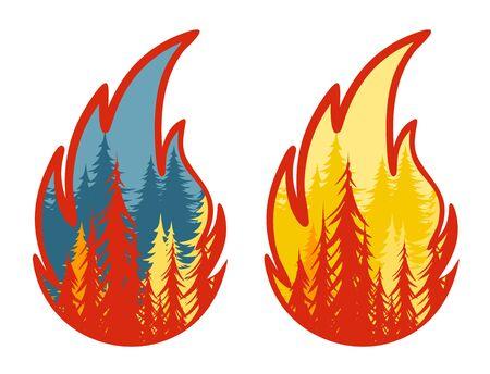 Symbol of burning forest. Ilustração
