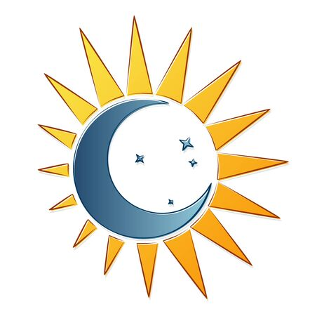 Symbol of the sun and moon with stars.
