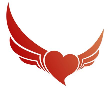 Red heart symbol with wings.