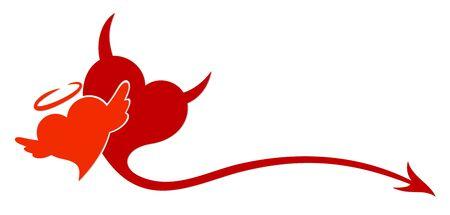 The stylized symbol with red hearts. Ilustração