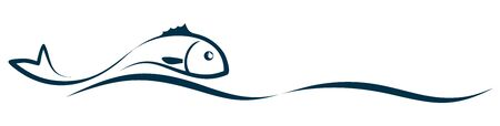 Symbol of a stylized sea fish with wave. Ilustração