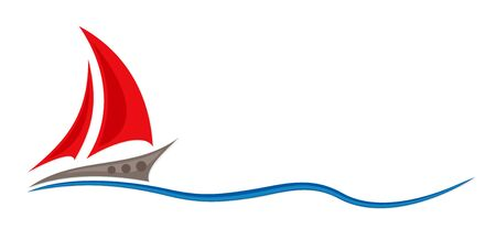 Symbol of red sailing in the sea. Ilustração