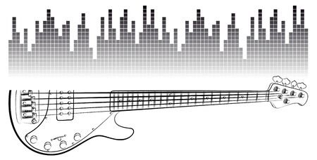 The Symbol of Electric guitar with sound scale.