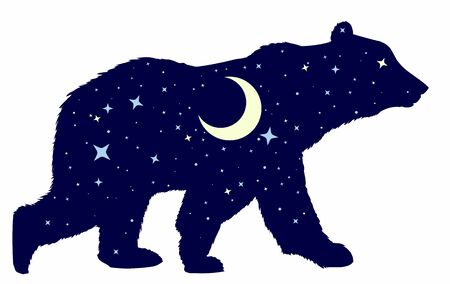 Silhouette of a wild bear with night sky and moon.