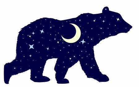 Silueta de un oso salvaje con cielo nocturno y luna.