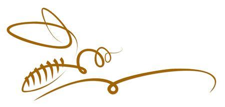 A symbol of the flying stylized wasp. Ilustração