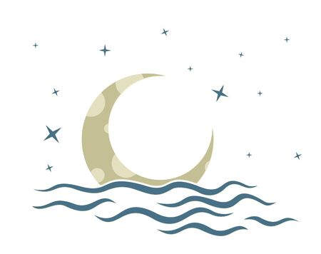A symbol of the moon with stars and sea. Ilustração