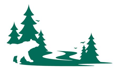 Silhouette of a wild bear with green forest.