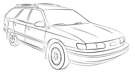 The sketch of a old big car.