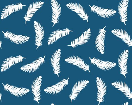 A Seamless blue background with feathers of birds.