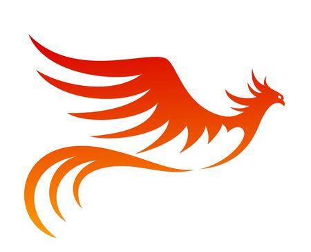 il simbolo dell'uccello infuocato in volo.