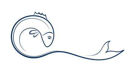 A blue Fish symbol with wave.