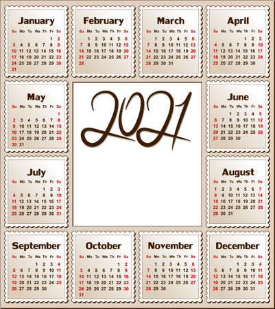 A calendar template for a year 2021.