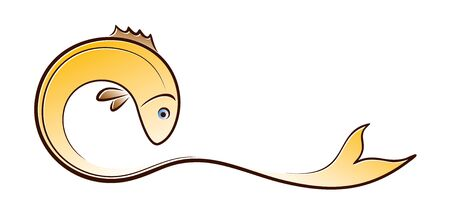 A Gold Fish symbol with wave.