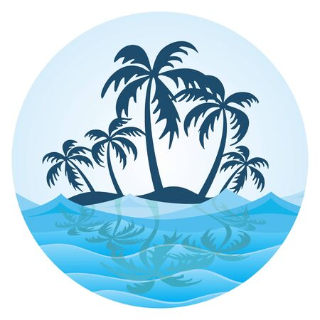 The symbol of tropical island with palm trees and sea.