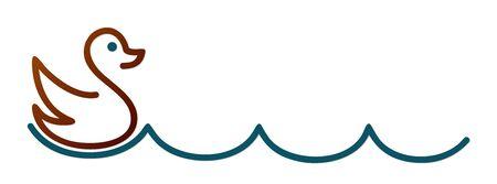 Duck symbol with blue wave. Illustration