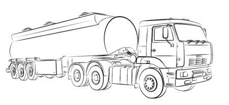 Sketch of a big old fuel truck.