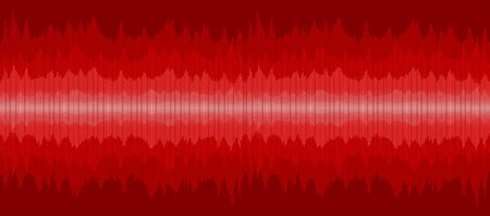 A red background with a sound scale.