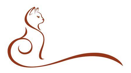 The Stylized symbol of a pet cat. Illustration
