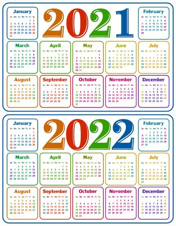 A calendar template for a year 2021-2022. Illustration