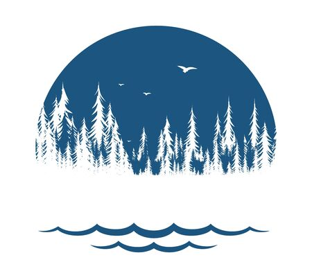 The Coniferous forest symbol with lake and birds.