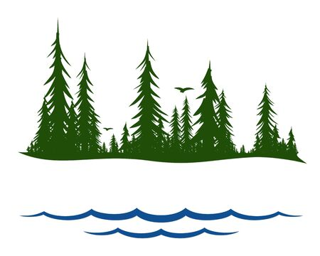 The Coniferous forest symbol with lake.