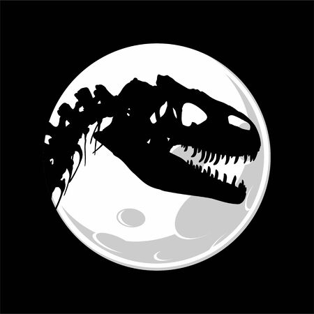 The Skeleton of ancient big dinosaur with moon.
