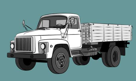 Sketch of the big old dump truck. Illustration
