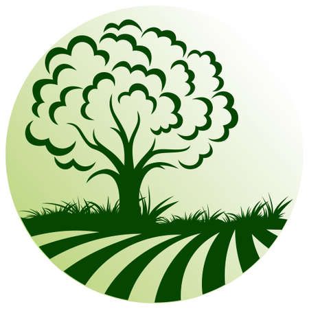 The Round green tree symbol with field.